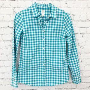 J. Crew - The Perfect Shirt Teal Medium Gingham, 2